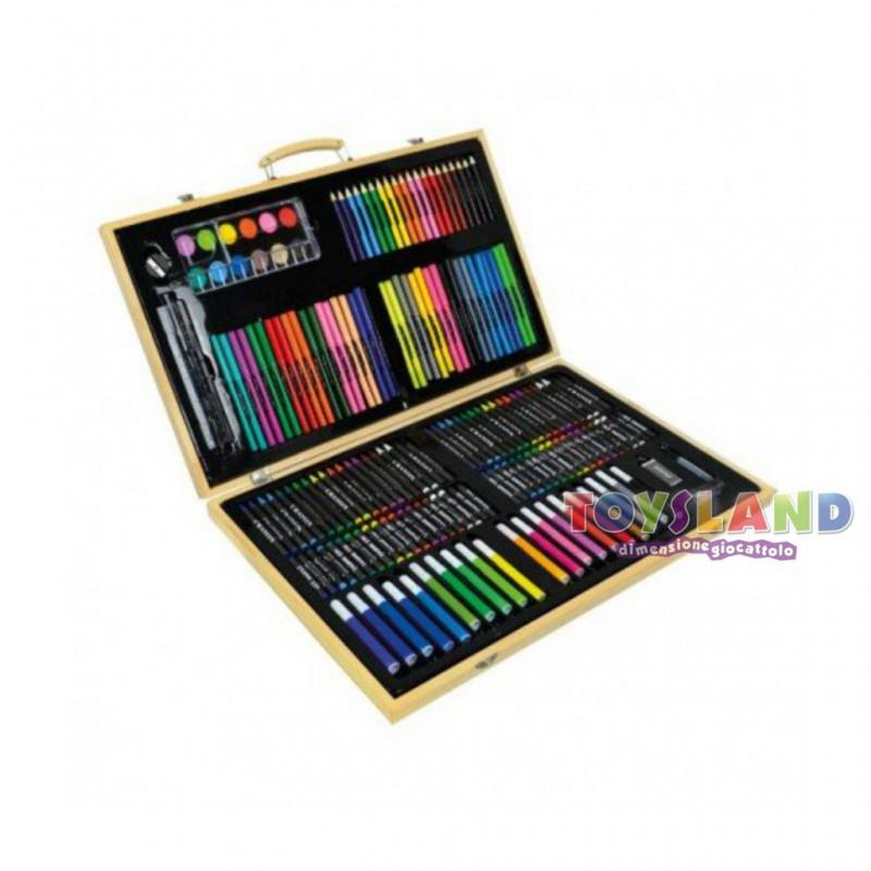 Crea Mania Valigetta Colori in legno 180 pezzi, una
