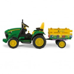 TRATTORE 12V JOHN DEERE GROUND FORCE CON RIMORCHIO